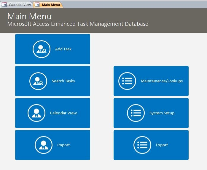 Microsoft Access Task Management DatabaseEnhanced
