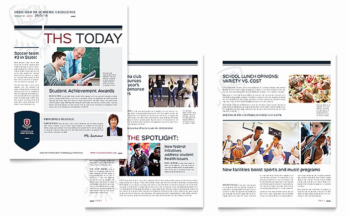 Microsoft Publisher Newspaper Templates Beautiful High School Newsletter Template Word & Publisher