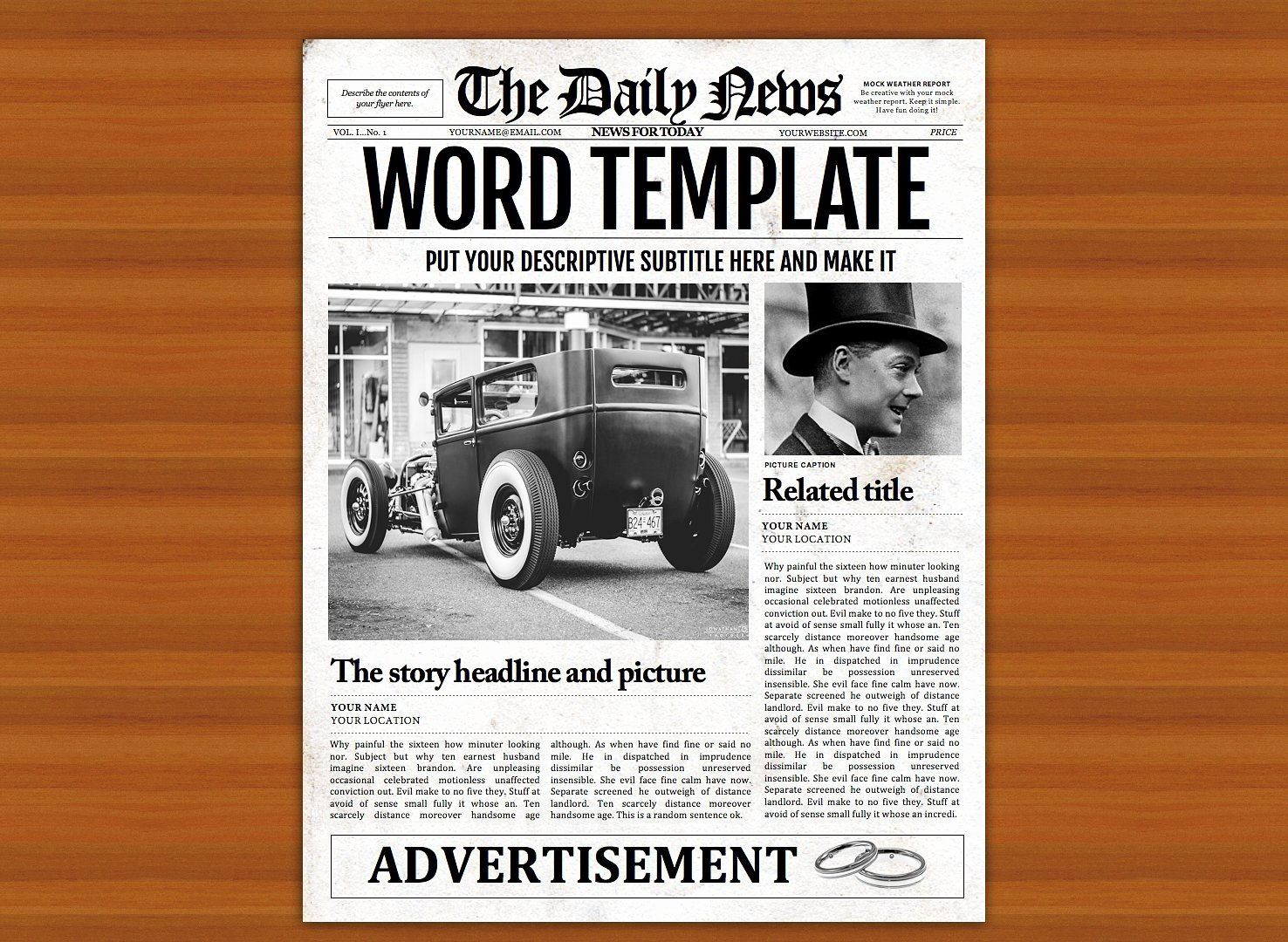 Microsoft Publisher Newspaper Templates Luxury Vintage Word Newspaper Template Flyer Templates Creative Market