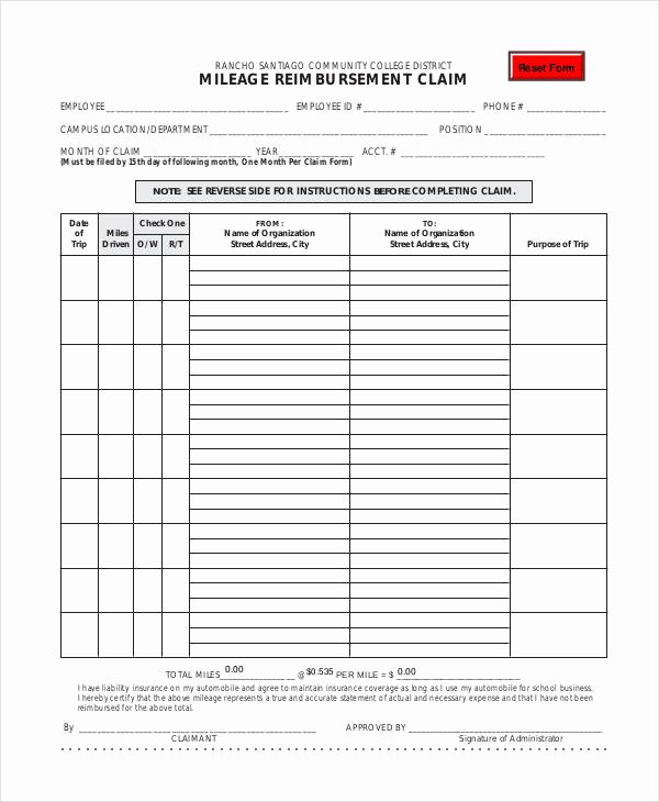 Mileage Reimbursement form Pdf Beautiful Free 30 Claim form In Templates