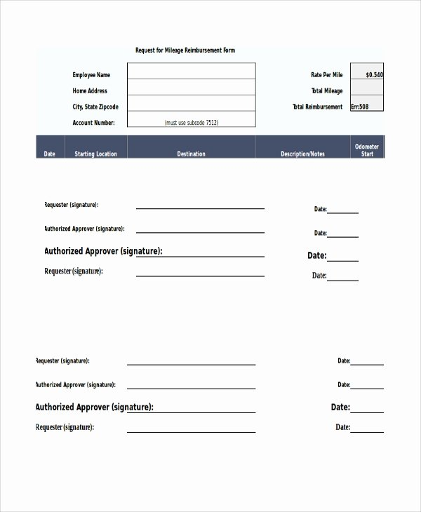 Mileage Reimbursement form Pdf Beautiful Sample Mileage Reimbursement form 11 Examples In Word Pdf Excel