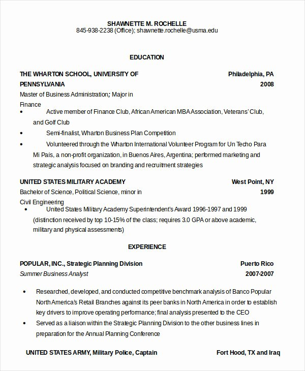 Military Resume Template Microsoft Word Awesome Military Resume 8 Free Word Pdf Documents Download