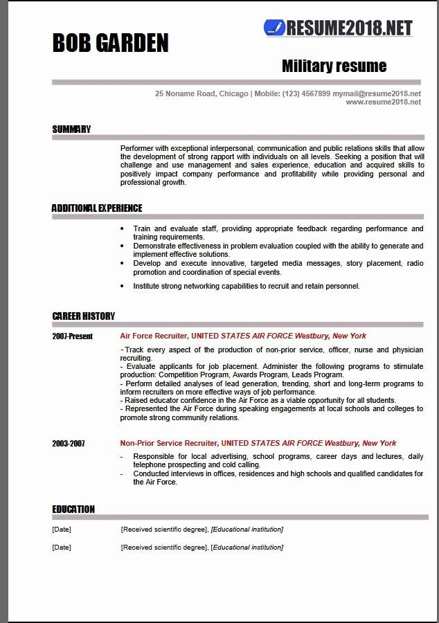Military Resume Template Microsoft Word Fresh Military Resume Examples 2018 Resume 2018