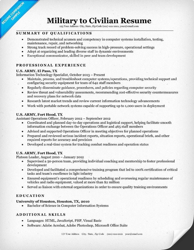 Military Resume Template Microsoft Word Unique Military to Civilian Resume Sample & Tips