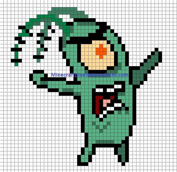 Minecraft Pixel Art Templates Awesome Plankton Spongebob Fuse Beads Pattern Pixel Art Pinterest