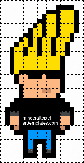 Minecraft Pixel Art Templates Elegant Johnny Bravo