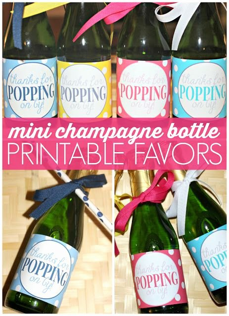 "Mini Champagne Bottle Labels Template Awesome Free Printable Mini Champagne Bottle Favors Labels ""thanks for Popping On by "" A Great Favor"