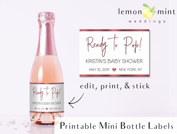 Mini Champagne Bottle Labels Template Lovely Baby Shower Mini Champagne Bottle Labels Template Ready to