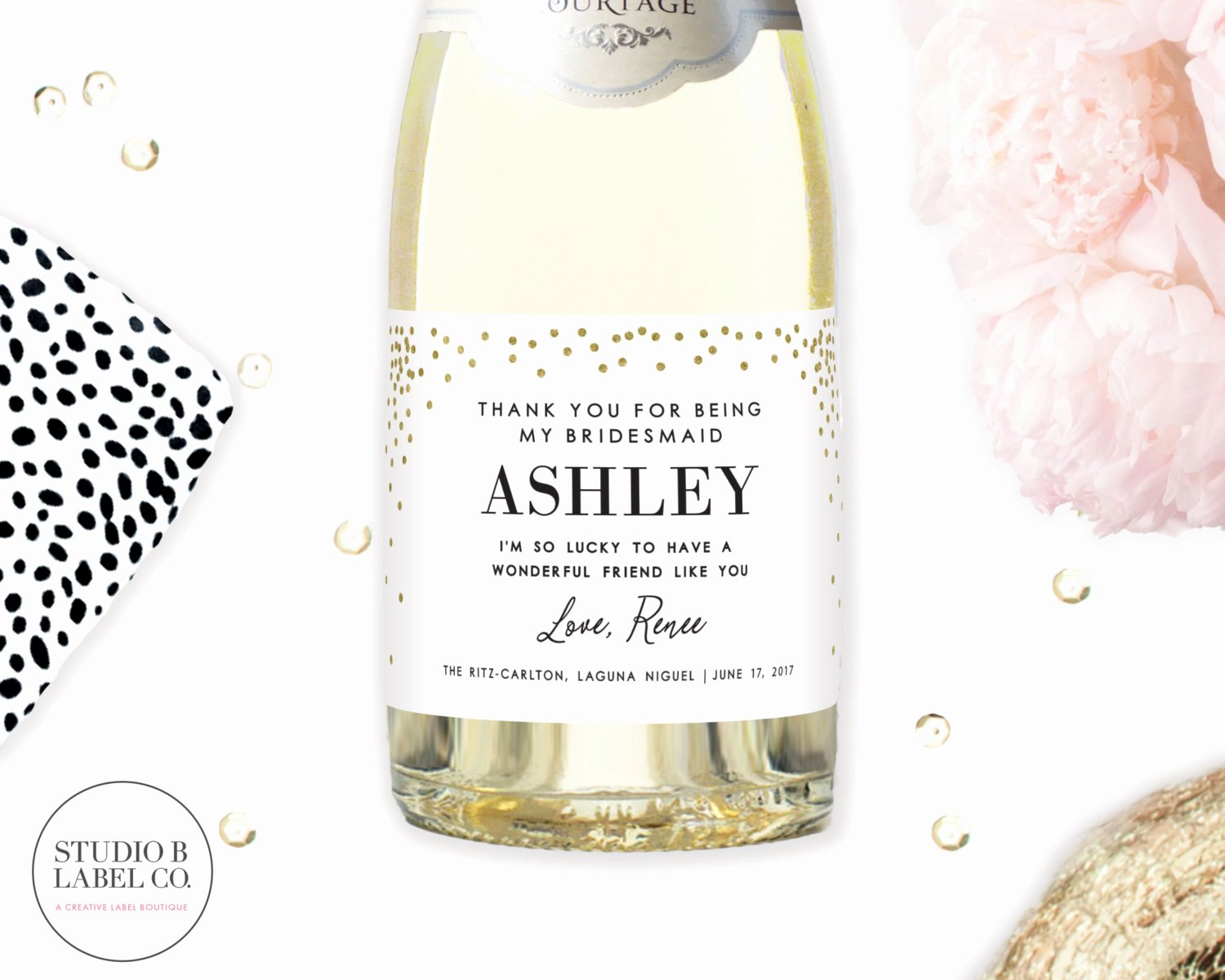 Mini Champagne Bottle Labels Template New Mini Champagne Bottle Labels Thank You for Being My