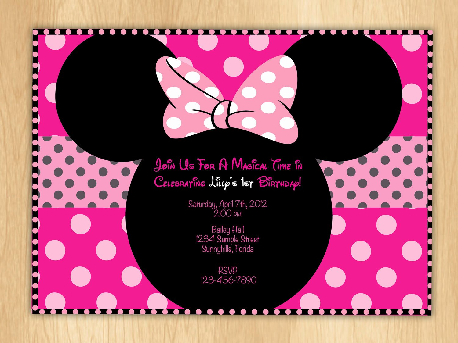minnie mouse birthday invitations polka