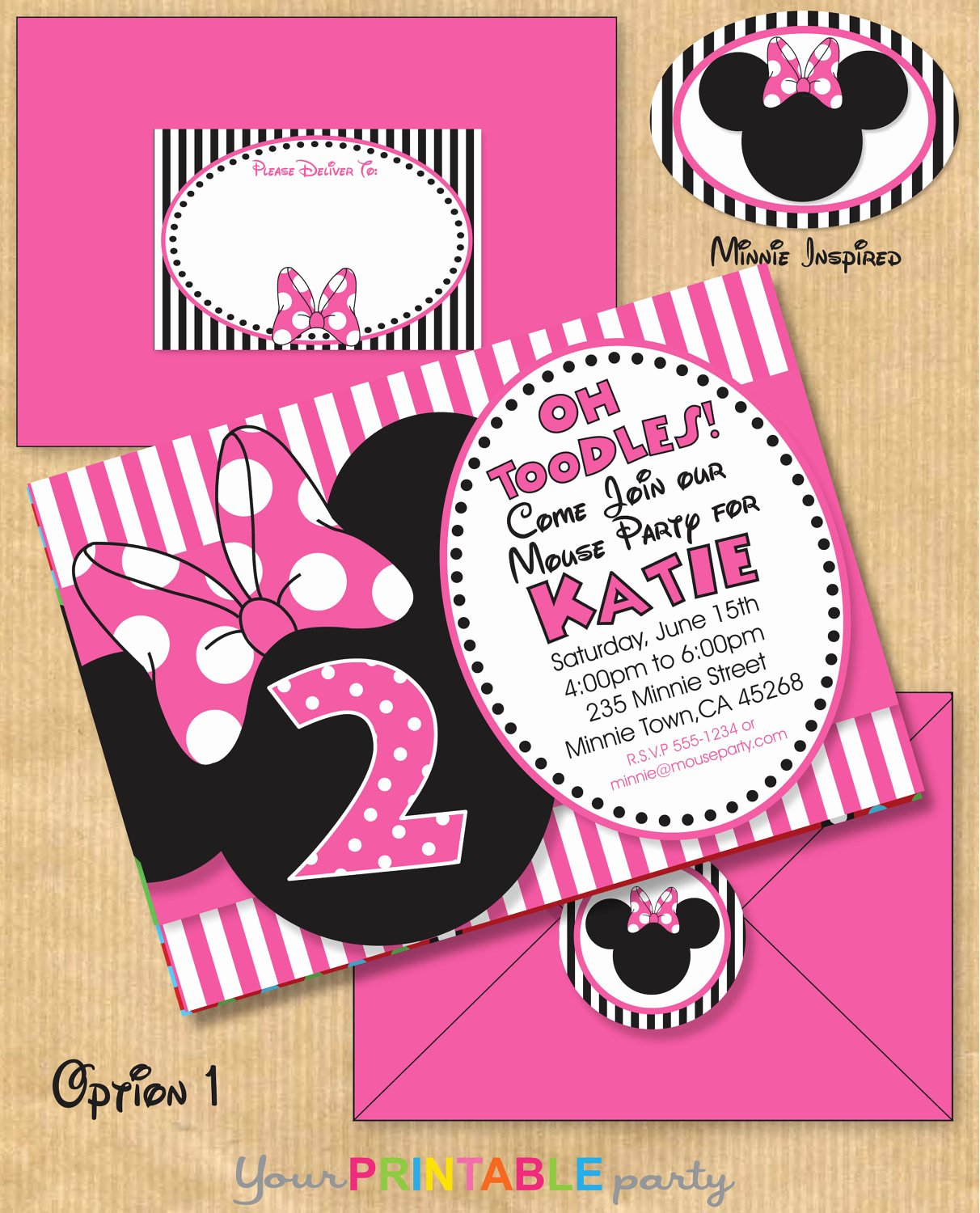 Minnie Mouse Birthday Invitation Awesome Minnie Mouse Inspired Birthday Party by Yourprintableparty On Etsy