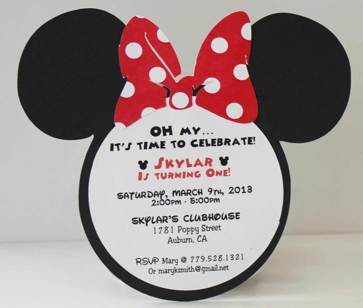 Minnie Mouse Birthday Invitation Beautiful Minnie Mouse Birthday Invitation Red Polka Dot Bow