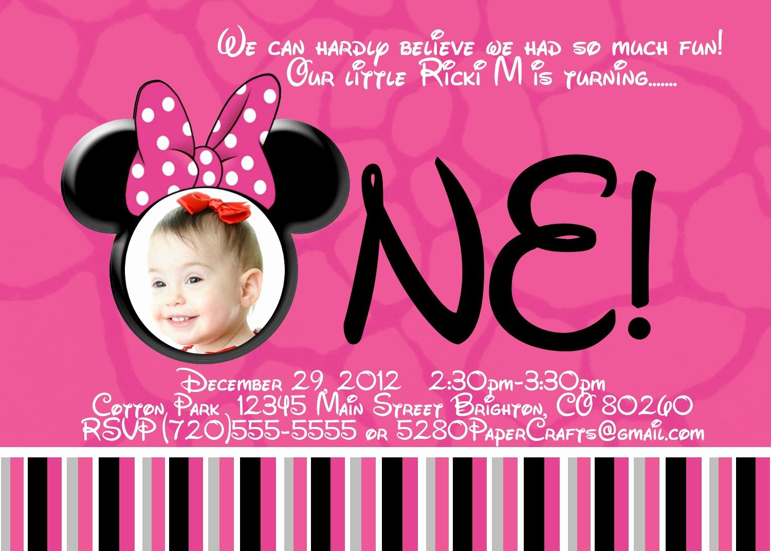 Minnie Mouse Birthday Invitation Fresh Free Printable Minnie Mouse 1st Birthday Invitations Birthday Invitations In 2019