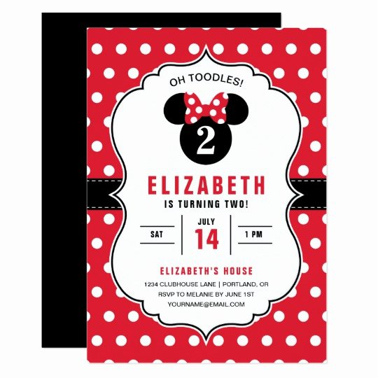 Minnie Mouse Birthday Invitation Lovely Minnie Mouse Red & White Polka Dot Birthday Invitation