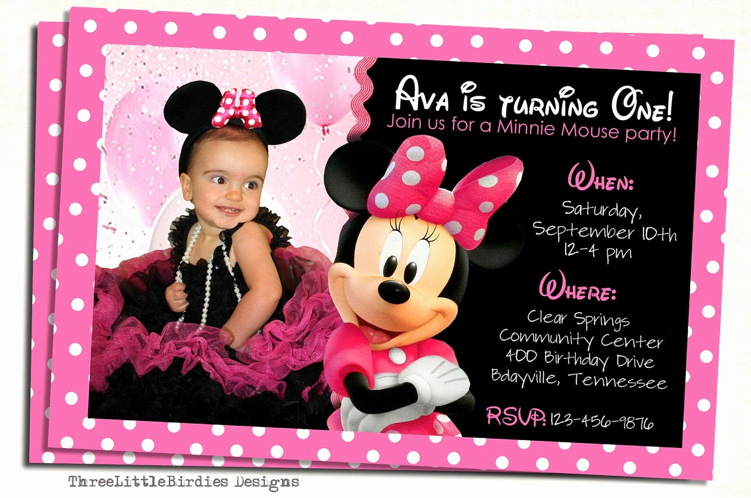 Minnie Mouse Birthday Invitation New Minnie Mouse Birthday Invitation by Elenasshop On Etsy