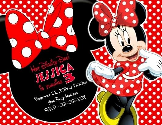 Minnie Mouse Birthday Invitation New Minnie Mouse Birthday Party Invitations Invites Personalized Custom for Sale Online