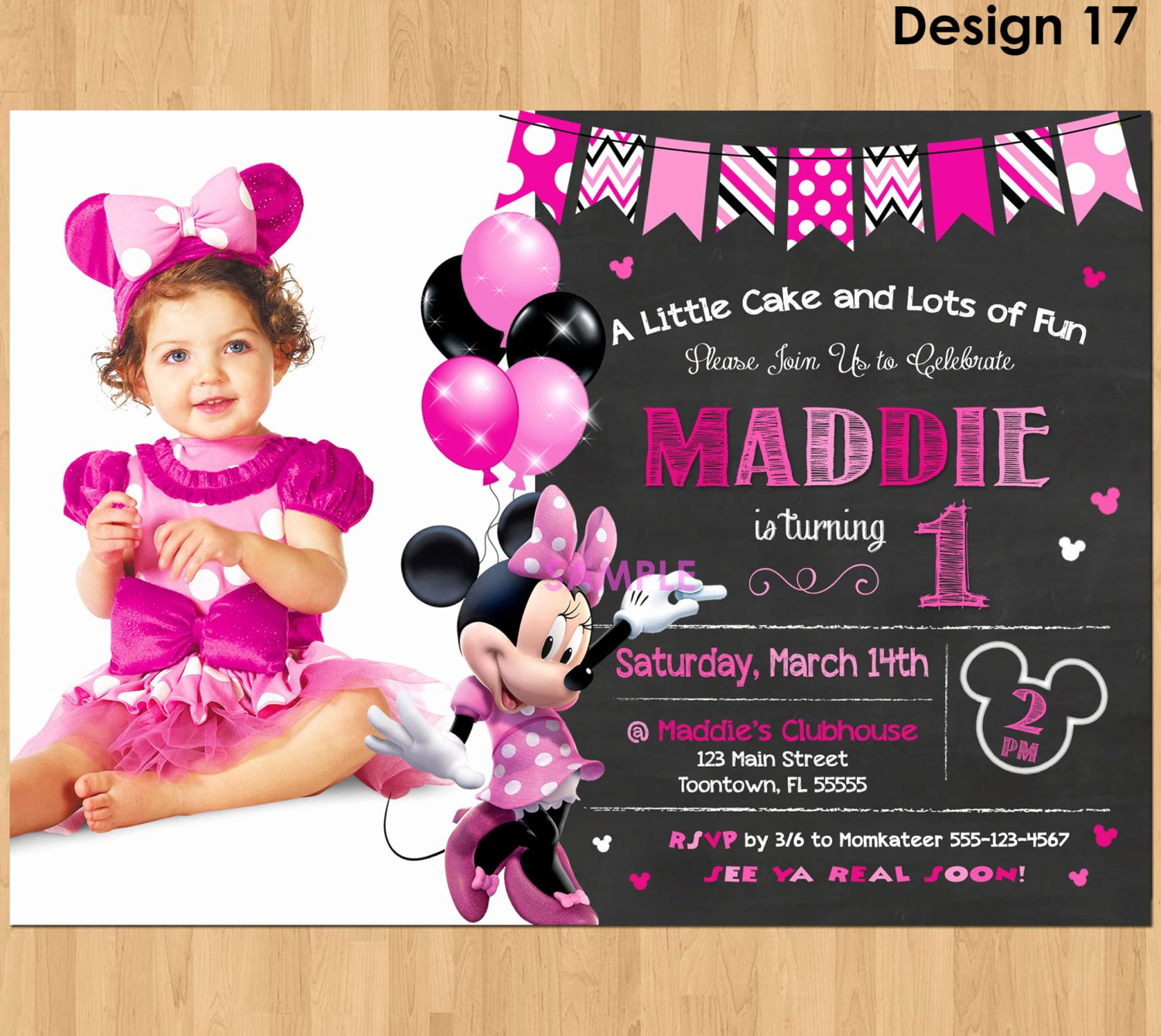 Minnie Mouse Birthday Invitation New Minnie Mouse Invitation Minnie Mouse 1st Birthday First Bday