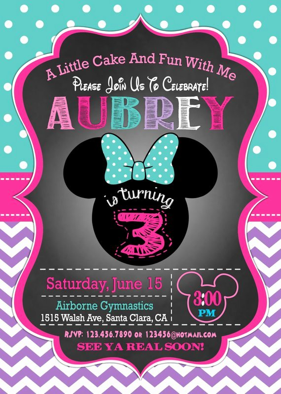 Minnie Mouse Birthday Invitation Unique Minnie Mouse Invitation 3rd Birthday Invitation Minnie Mouse Birthday Invitation Minnie Mouse