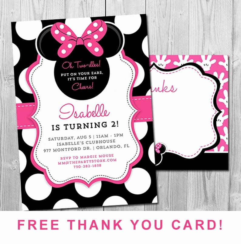 Minnie Mouse Birthday Invitations Awesome Minnie Mouse 2nd Birthday Invitations Printable Girls Party