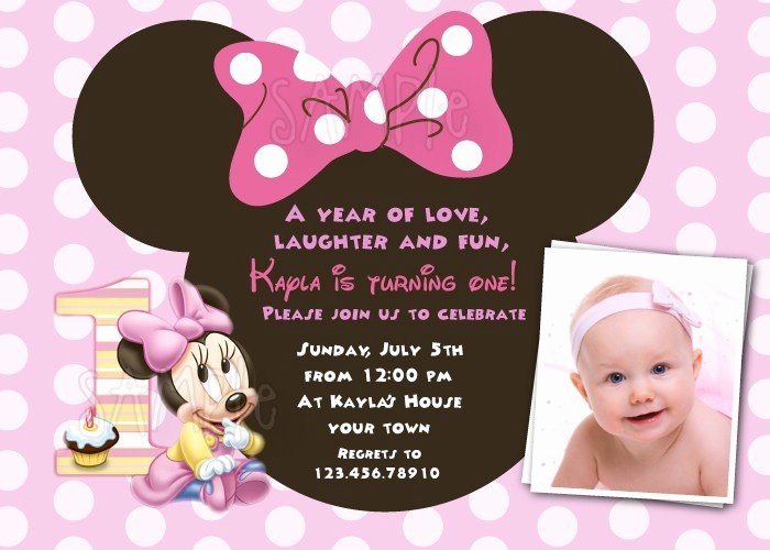 Minnie Mouse Birthday Invitations Beautiful Free Download Minnie Mouse 1st Birthday Invitations Template