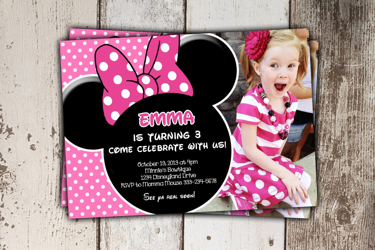 Minnie Mouse Birthday Invitations Beautiful Minnie Mouse Invitations Pink Birthday Invitations with