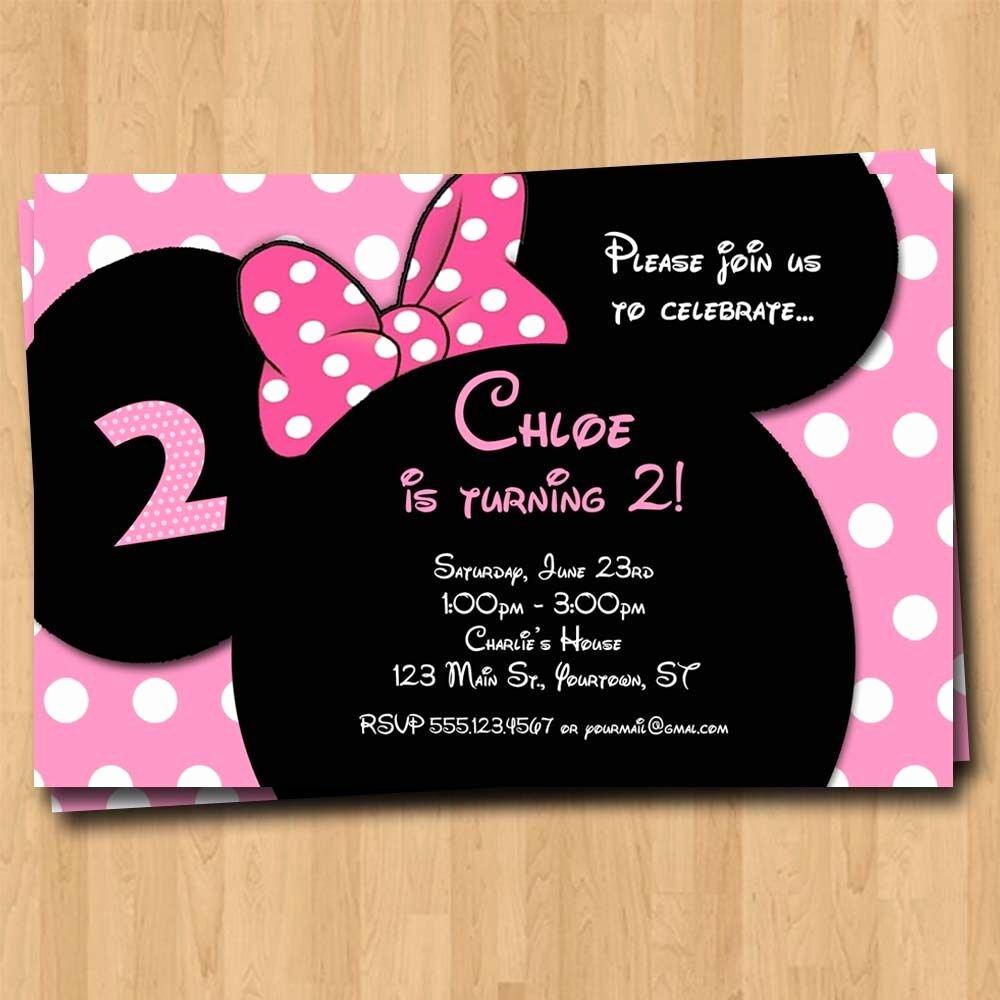 Minnie Mouse Birthday Invitations Elegant Minnie Mouse Birthday Invitation Party Invites Custom Mickey 4x6 or 5x7