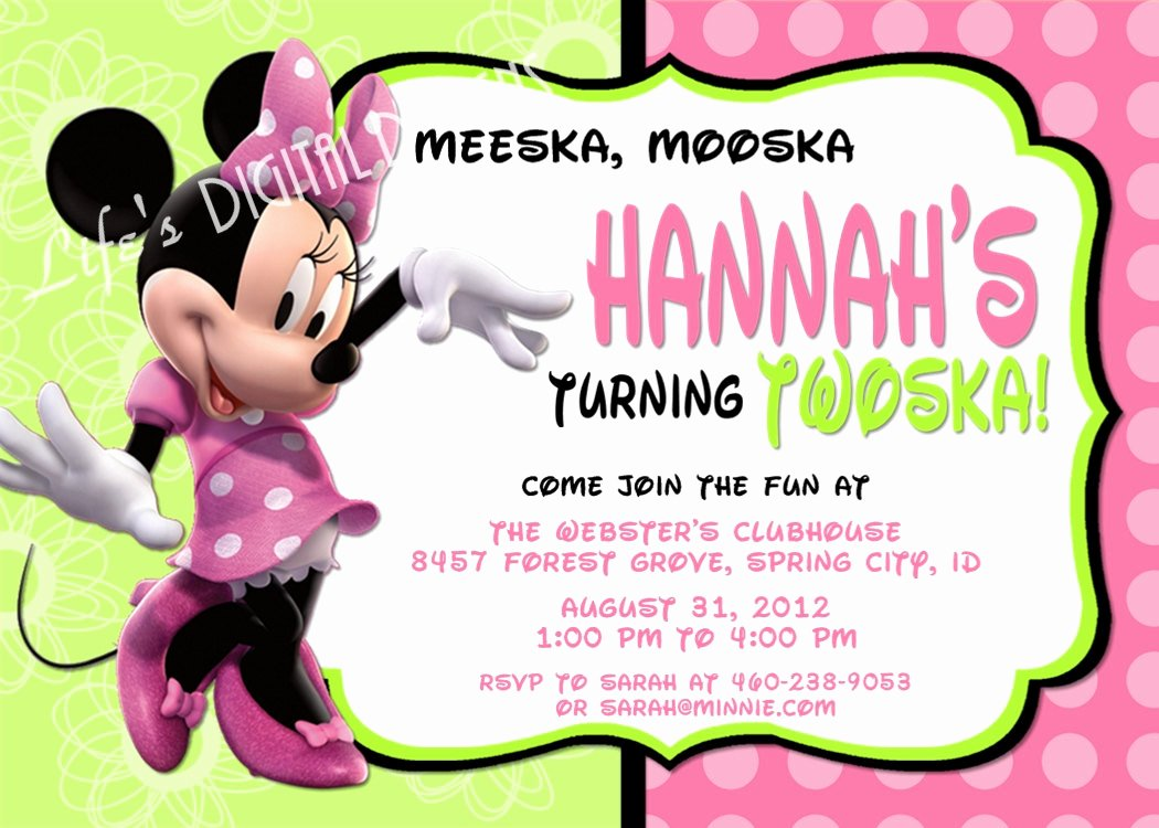 Minnie Mouse Birthday Invitations Inspirational Minnie Mouse Birthday Invitations Green Pink Option