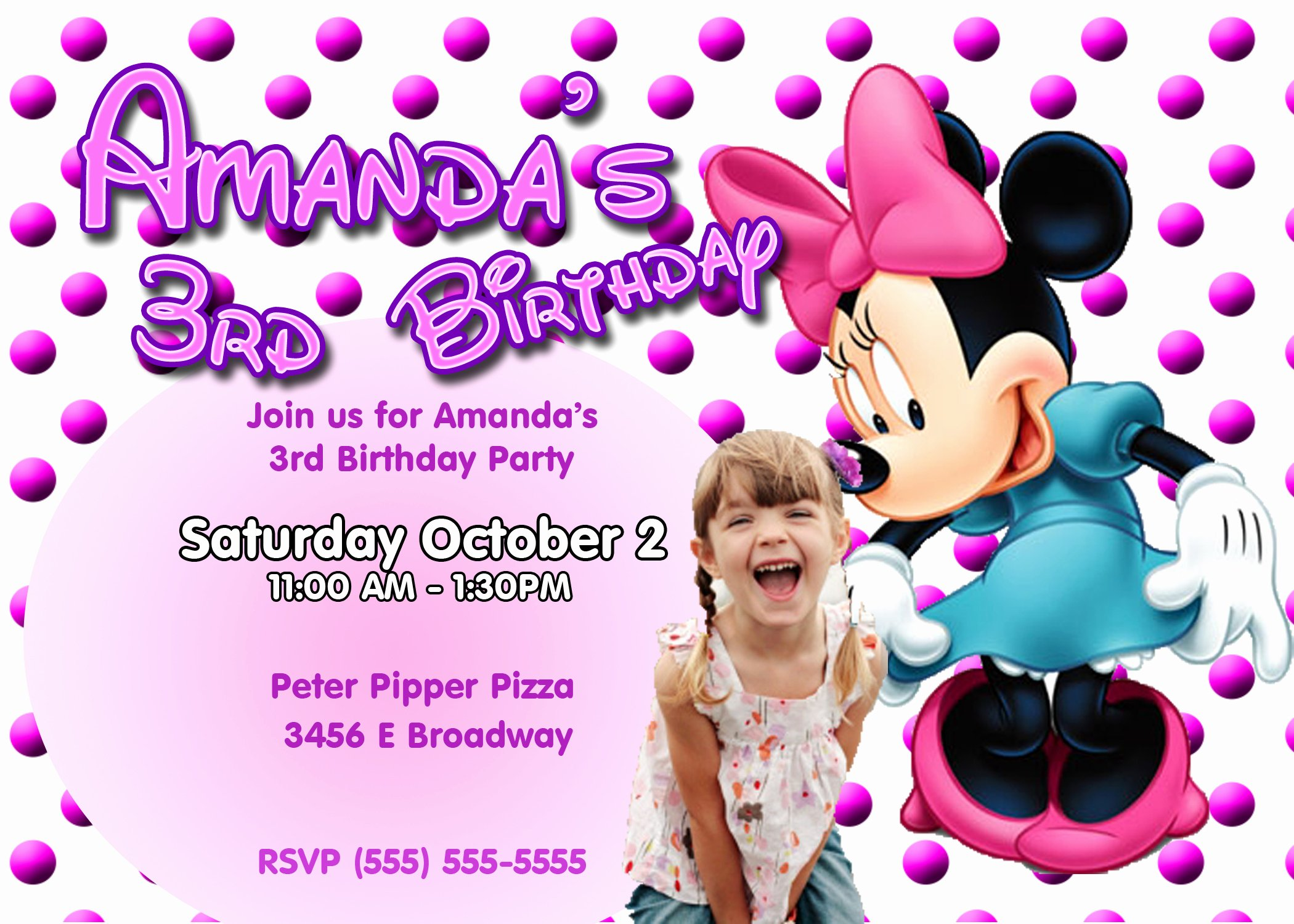 Minnie Mouse Birthday Invitations Lovely Minnie Mouse Birthday Invitations
