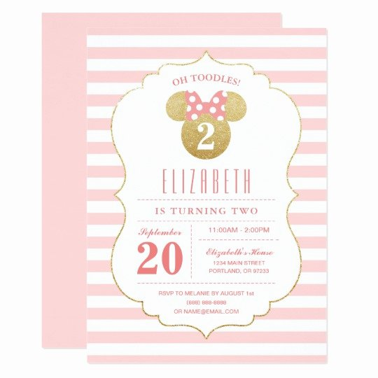 Minnie Mouse Birthday Invitations Lovely Minnie Mouse Gold & Pink Striped Birthday Invitation