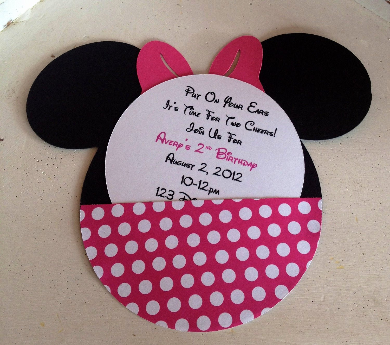 Minnie Mouse Birthday Party Invitations Beautiful Handmade Custom Hot Pink Minnie Mouse Birthday Invitations