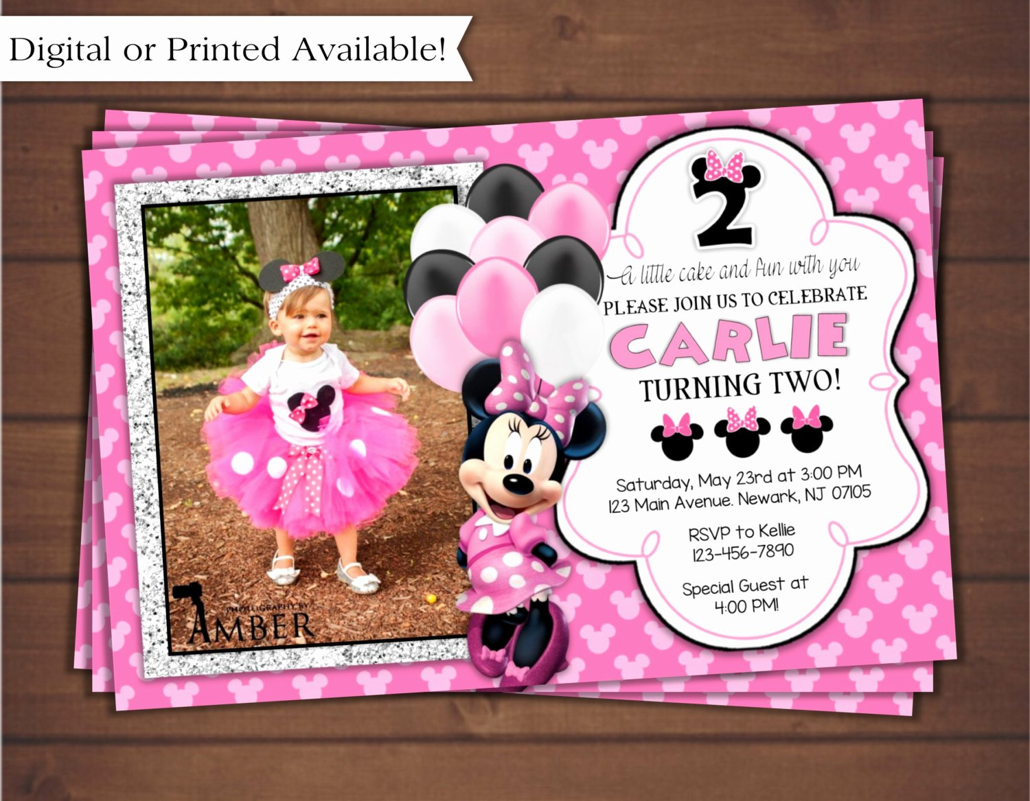 Minnie Mouse Birthday Party Invitations Beautiful Minnie Mouse Birthday Invitation Digital Minnie Mouse