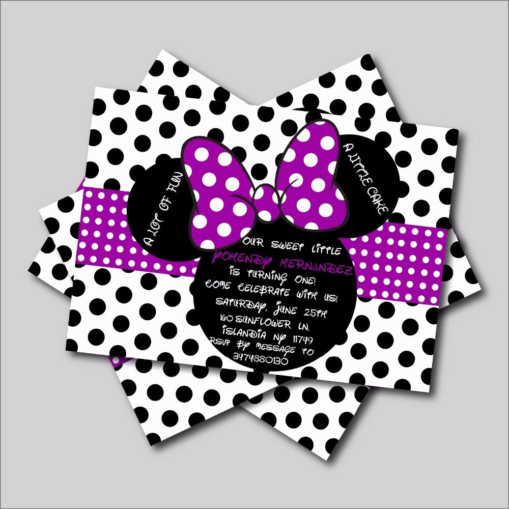 Minnie Mouse Birthday Party Invitations Best Of 20 Pcs Lot Custom Purple Minnie Mouse Birthday Invitations