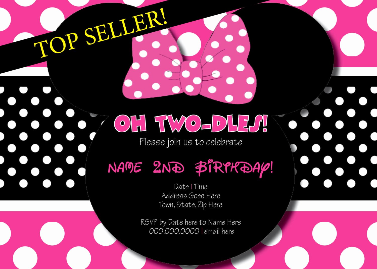 Minnie Mouse Birthday Party Invitations Best Of Oh Two Dles Minnie Mouse Birthday Invitation Printing