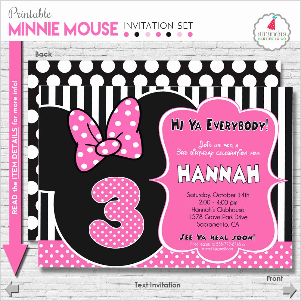 Minnie Mouse Birthday Party Invitations Elegant Minnie Mouse Birthday Invitation Printable Minnie Mouse