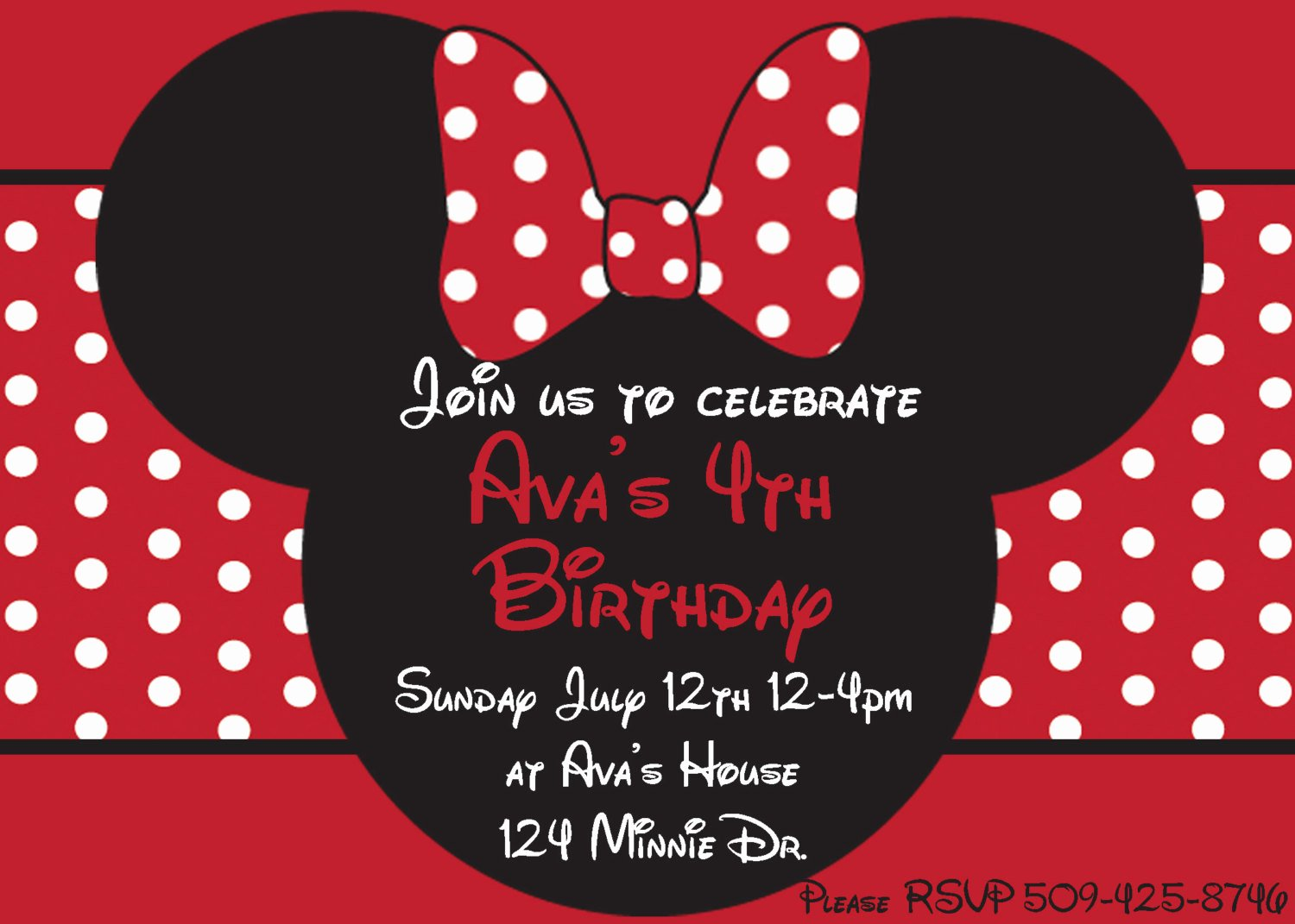 Minnie Mouse Birthday Party Invitations Luxury Diy Minnie Mouse Red Printable Birthday Party by