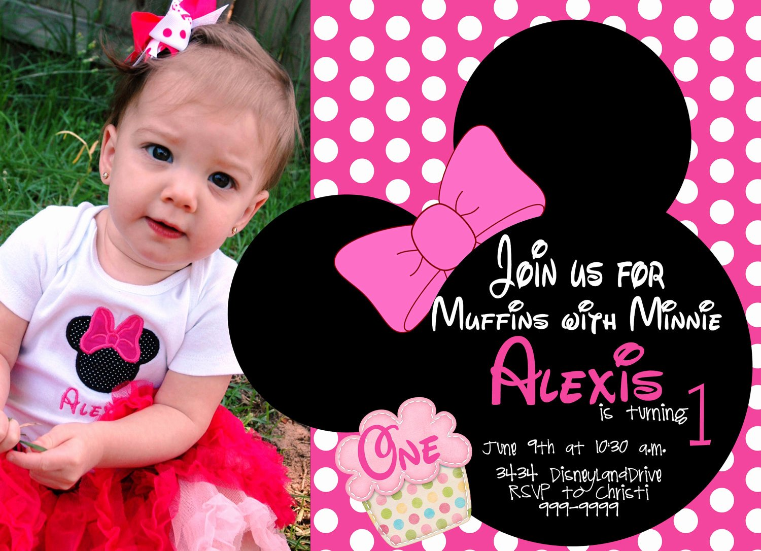 Minnie Mouse Birthday Party Invitations Luxury Minnie Mouse First Birthday Invitations