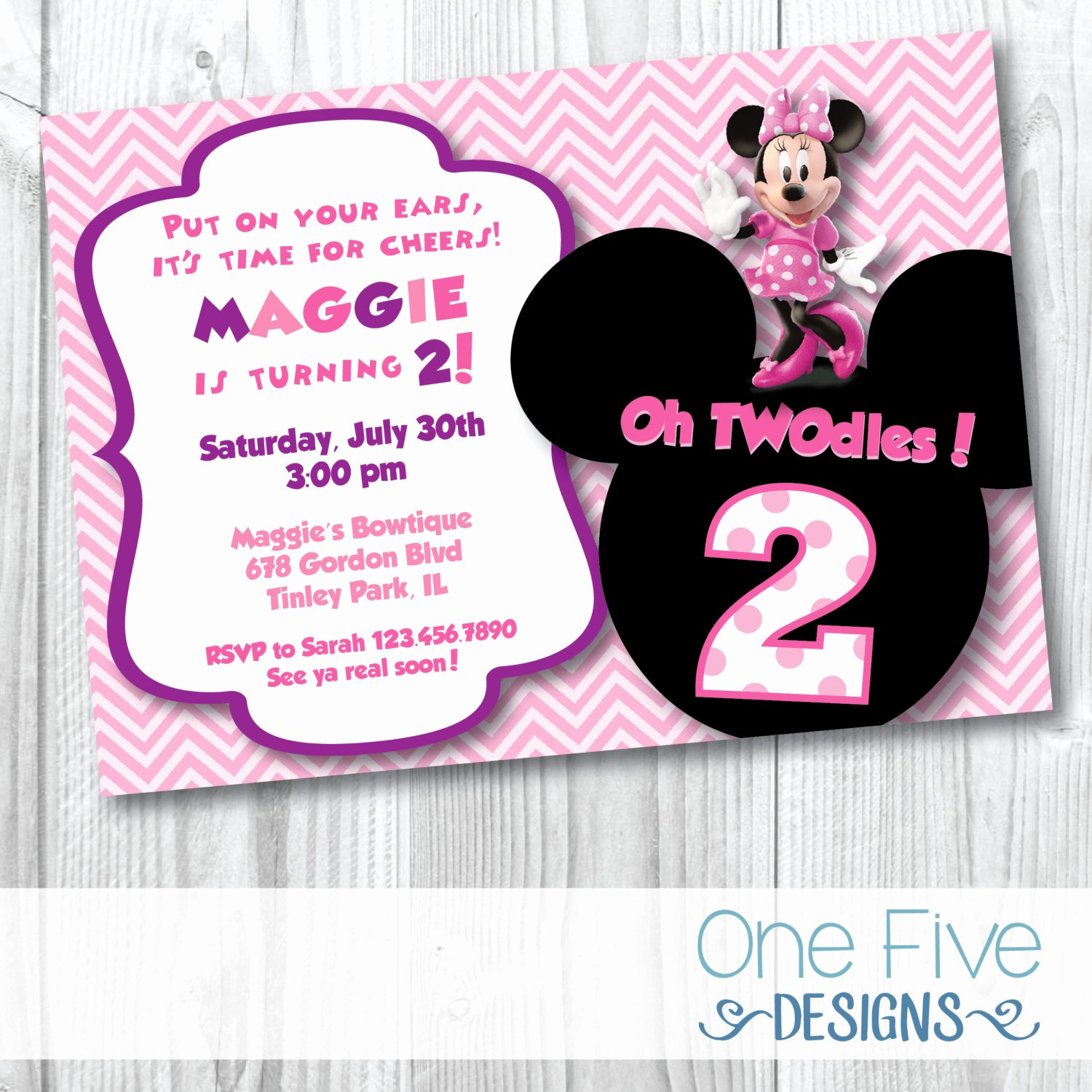 Minnie Mouse Birthday Party Invitations New Minnie Mouse Oh Twodles Birthday Party Invitation
