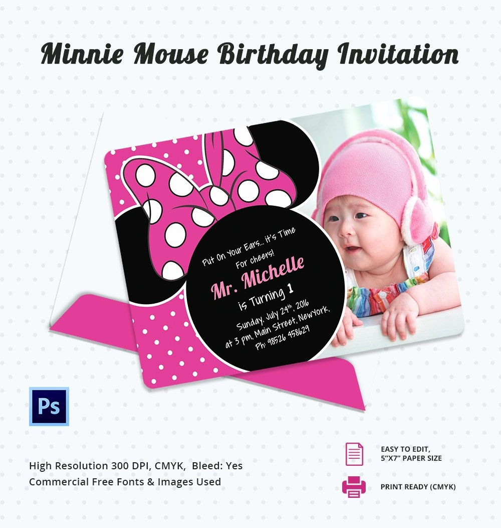 Minnie Mouse Birthday Party Invitations Unique Awesome Minnie Mouse Invitation Template 27 Free Psd