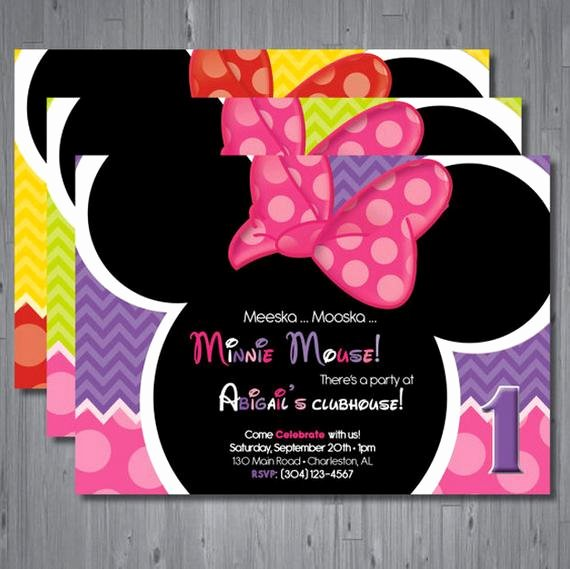 Minnie Mouse Invitation Card Awesome Minnie Mouse Birthday Invitation First Birthday by Abbyreesedesign