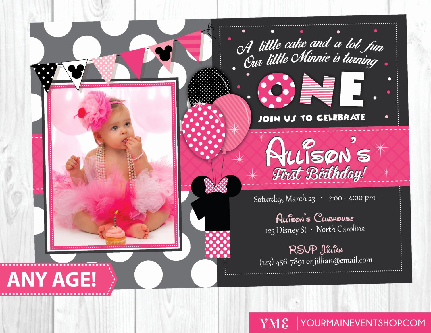 Minnie Mouse Invitation Card Awesome Minnie Mouse Birthday Invitation Minnie Mouse Inspired