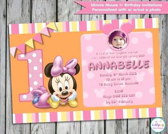 Minnie Mouse Invitation Card Beautiful Details About Minnie Mouse 1st First Birthday Personalised Invitations Cards Invites Party