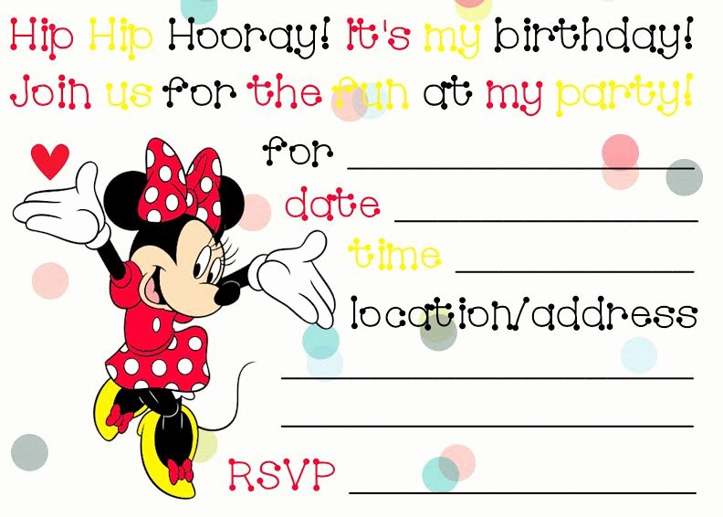 Minnie Mouse Invitation Card Best Of Free Birthday Invitations to Print