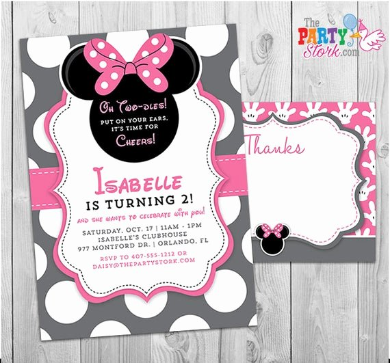 Minnie Mouse Invitation Card Best Of Minnie Mouse Invitation Oh Twodles Invitation 2nd Birthday