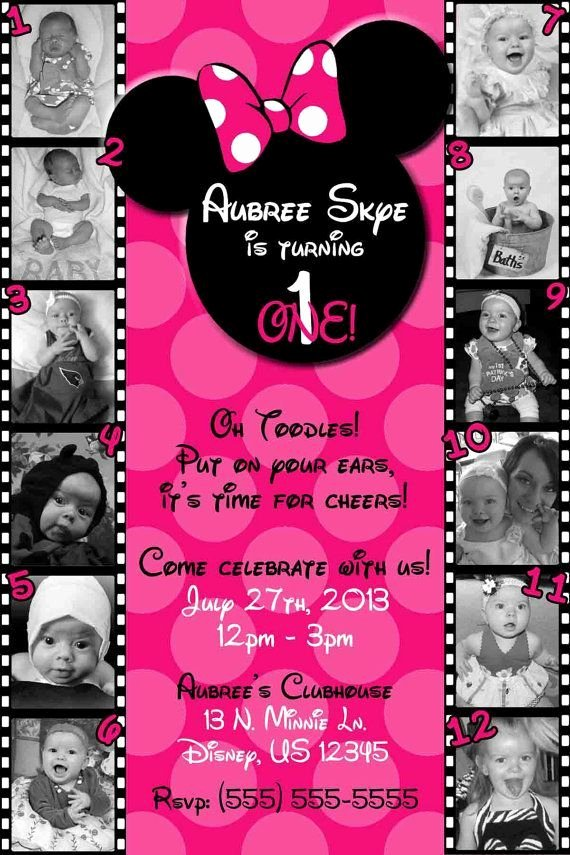 Minnie Mouse Invitation Card Elegant 12 Month Birthday Invitation