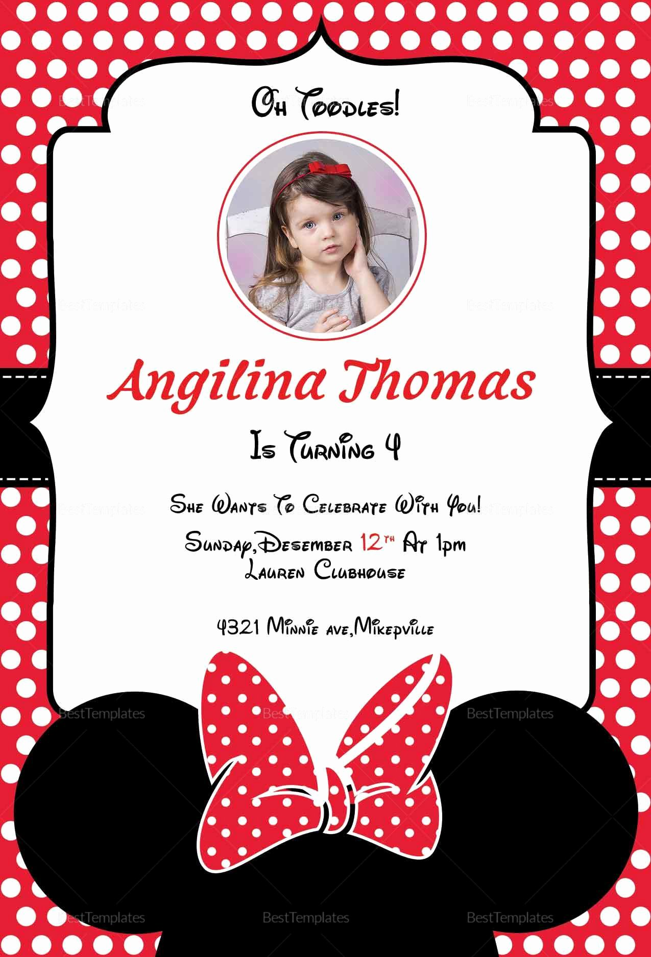Minnie Mouse Invitation Card Elegant Birthday Minnie Mouse Invitation Card Design Template In Word Psd Publisher