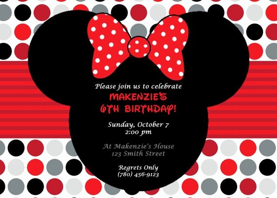 Minnie Mouse Invitation Card Elegant Diy Printable Minnie Mouse Birthday Party Invitation Red