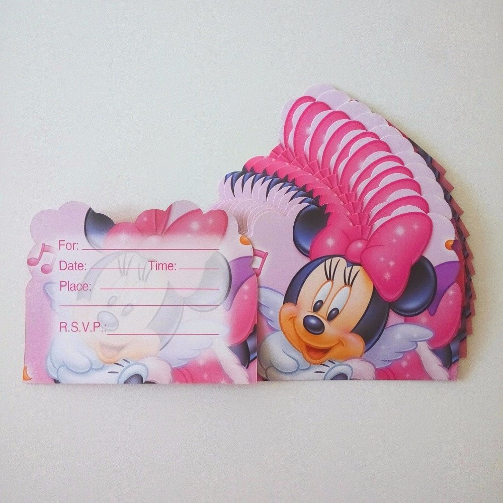 Minnie Mouse Invitation Card Fresh 12pcs Set Minnie Mouse Invitation Card Cartoon theme Party for Kids Birthday Decoration theme