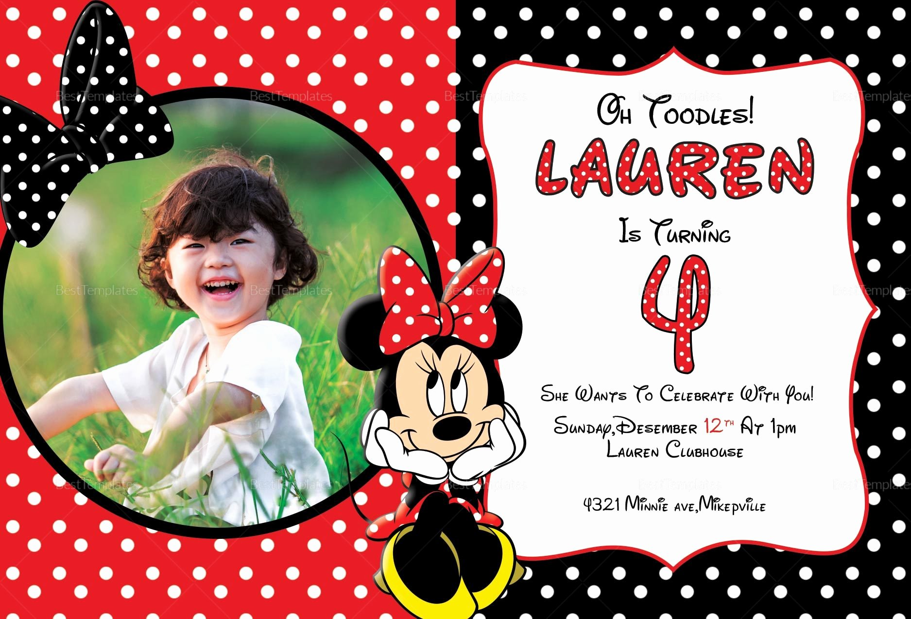 Minnie Mouse Invitation Card Inspirational Minnie Mouse Invitation Card Design Template In Word Psd Publisher