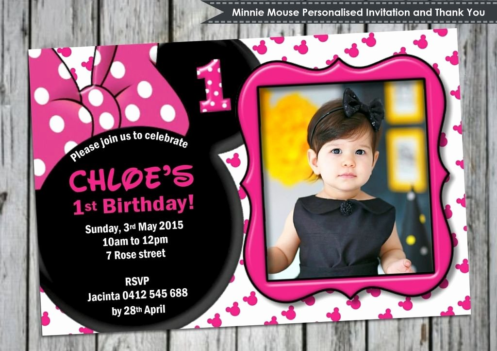 Minnie Mouse Invitation Card Luxury Minnie Mouse Personalised Invitation Invites Cards 1st Birthday Party Thank You