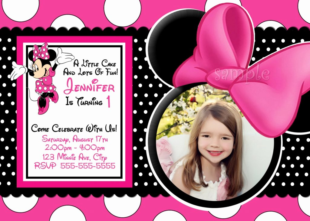 Minnie Mouse Invitation Card New 1st Birthday Invitation Template Blank Everyg T